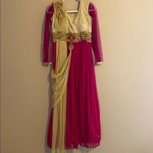 Pink and Beige Net Embriodery Long Dress